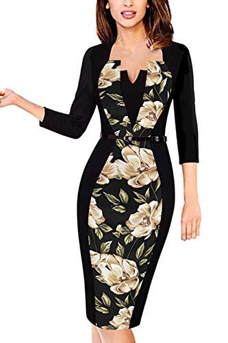 MisShow Damen Cocktailkleid Mit 3/4 Arm Pin up Business Sommer Kleid Abendkleid V-Ausschnitt Blumen Gr.XL