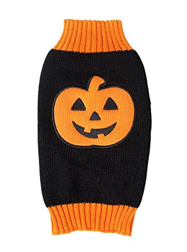 Gwood Neue Herbst/Winter-Tier-Kostüm Hund-Pullover Marine Bow-Haustier-Pullover Sweaters für VIP Bichon Pommerschen Chihuahua Dog (Halloween-Lächeln, L) (Neue Halloween Kostüm)