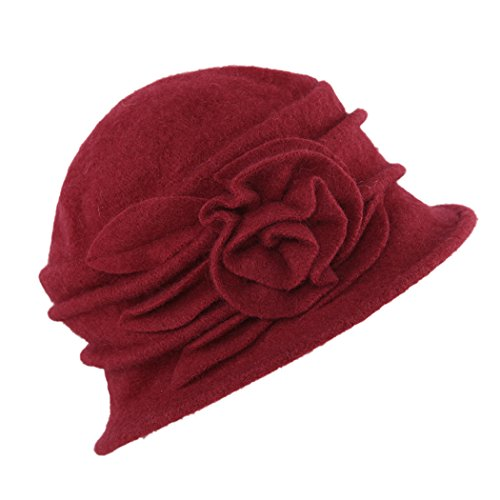 West See Damen Vintage Wolle Cloche Bucket Hut Beret Topfhut mit Blumendetail Wintermütze (rot) (Cloche Bucket)