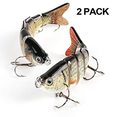 Scotamalone Fishing Lures, Fishing Tackles, Fishing Baits, Pack of 2, 6 Segments, Tackle 6# High Carbon Steel Anchor Hooks, Lifelike Multi-Jointed Artificial Swimbait, Hight Quality Hard Bait, Fishing Hooks, 10cm/19g from Scotamalone