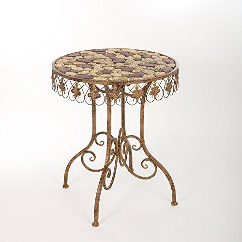 Gartentisch Tisch Metalltisch Eisentisch Mosaiktisch Garten Metall Antik 70 x 38 cm