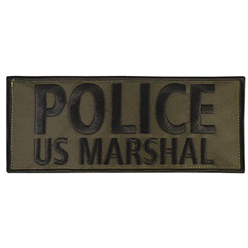 Olive Drab OD POLICE US MARSHAL Large XL 10x4 inch Blue Line SWAT Hook-and-Loop Aufnäher Patch -