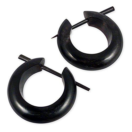 Fly Style Damen Creolen Ohrringe Horn Knochen Ohr-Schmuck (16-19mm) Schwarz Weiß er048, Grösse:19 mm;Farbwahl:schwarz