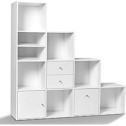 IDMarket - Meuble de Rangement escalier 4 Niveaux Bois Blanc avec Porte et tiroirs