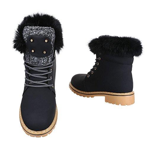 ... Schnürboots Damen Schuhe Combat Boots Blockabsatz Warm Gefütterte Schnürsenkel  Ital-Design Stiefeletten Schwarz 8e86871a24
