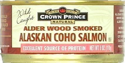 Crown Prince Natural, Alder Wood Smoked Alaskan Coho Salmon, 6 oz (170 g)