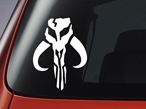 Star Wars-Adhesivo de vinilo-blanco Mandalorian Logo-Boba Fett-Coche, ventana, pared, portátil adhesivo