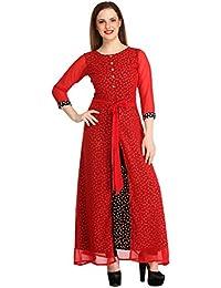 cottinfab Print n Plain Double Layered Party Dress