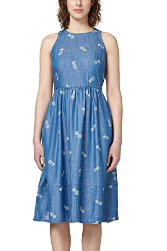 edc by ESPRIT Damen Kleid 058CC1E019, Mehrfarbig (Blue Wash 902), Medium