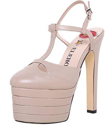 ELEHOT Donna Leo tacco a spillo 16CM Leather Sandali, beige,