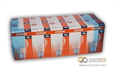 10 X Osram Glhlampe Glhbirne 40w 40 Watt Klar E27 von Osram