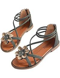 bc3774fd2 Chinashow Flat Sandals Universal Women Buckle Zip Sandal Students Leisure  Roman Shoes Beach Shoes