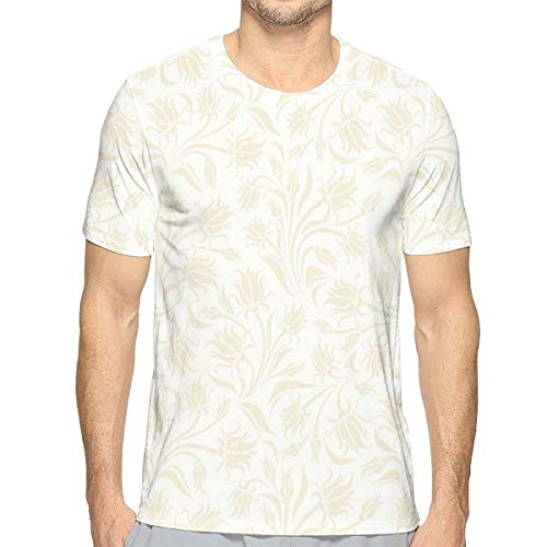 3D Printed T Shirts,Baroque Style Curved Leaves and Floral Blooms Artistic Nature Beauty Kitsch Design Motif S -