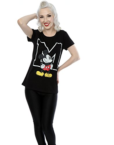 Disney Damen Mickey Mouse Classic M Roll-T-Shirt Schwarz