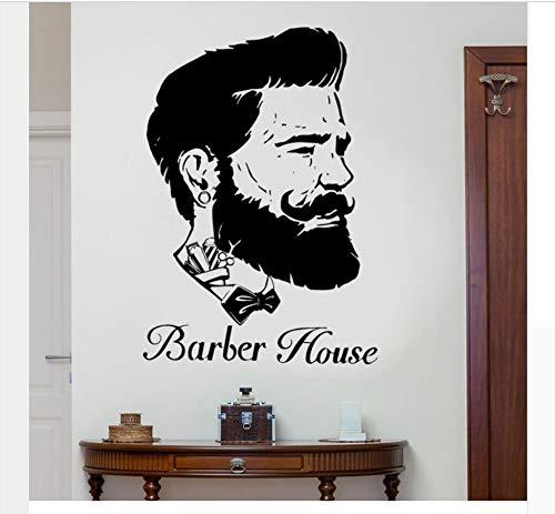 Mann Barber Kopf Porträt Wandaufkleber Vinyl Haus Dekor Friseursalon Tapete Removable Poster 100X143Cm