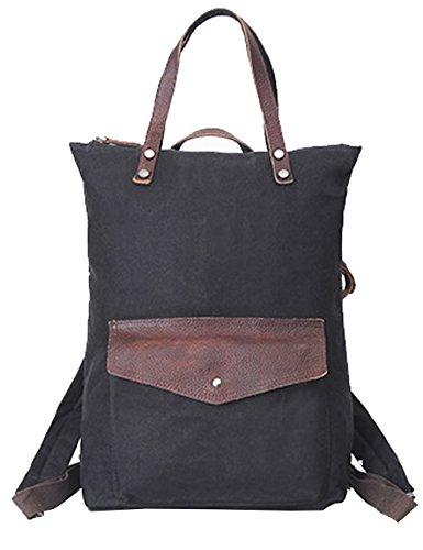 Menschwear Impermeabile Zaino Satchel Daypack sacchetto di scuola Beige Nero