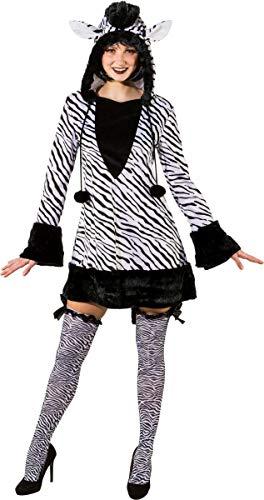 Orlob Fasching Kostüm Damen Zebra Kleid mit Kapuze (38/40)