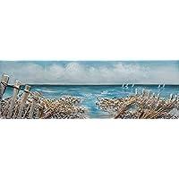 0258f22bac BUBOLA quadro azzurro dipinto a mano mare scogli stampa su tela  rettangolare DIPIZ415 30x90
