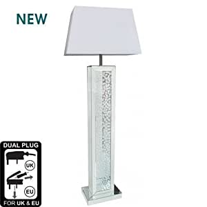 Mirrored Astoria Floor Lamp with floating crystal base design