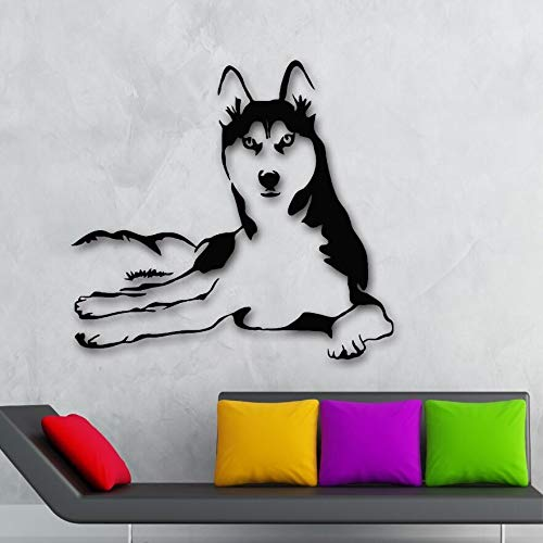 61 * 57cm Wandaufkleber Home Dekoration Vinyl Husky Dog Animals Wall Dekal Haustiere Veterinärladen Wall Art Mural Husky Dog Wall Poster