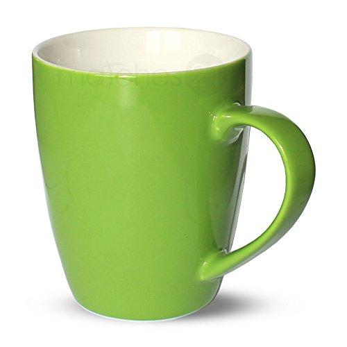 matches21 Tasse Becher Kaffeetassen Kaffeebecher Unifarben / einfarbig grün Porzellan 6 Stk. 10 cm...