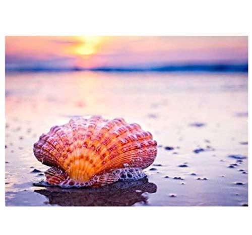 AbenddäMmerung Strand GroßEs Bild Gemalt Strand Shell Leinwand Hawaii Strand Kunst Foto Voller Diamanten Malerei Stickerei Landschaft Wohnzimmer Wandkunst Bild Hd Drucken