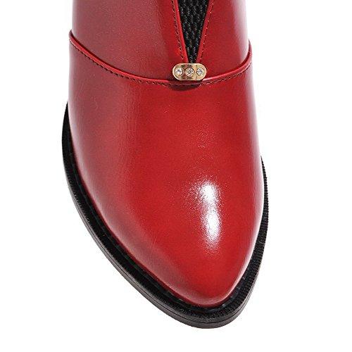 AllhqFashion Damen Weiches Material Mittler Absatz Ziehen Auf Rein Pumps Schuhe Rot