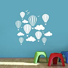 Los niños de globos de aire caliente con nubes y pájaros pared pegatinas de vinilo adhesivo–arte, dormitorio infantil, fácil de aplicar, sin aplicador, fácil de despegar–(por favor elegir su tamaño y color usando la selección cajas)–por diseños Rubybloom, Blanco, Small 58cm x 55cm