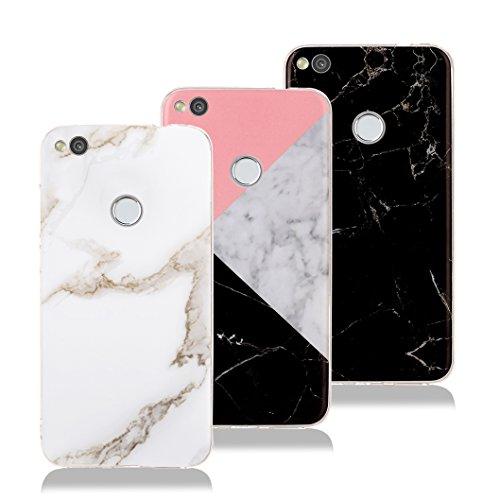 Wanxideng - 3x cover huawei p8 lite 2017, custodia morbido marmo in silicone & liscio opaco leggero sottile - marble soft case [nero + bianco + rosa]