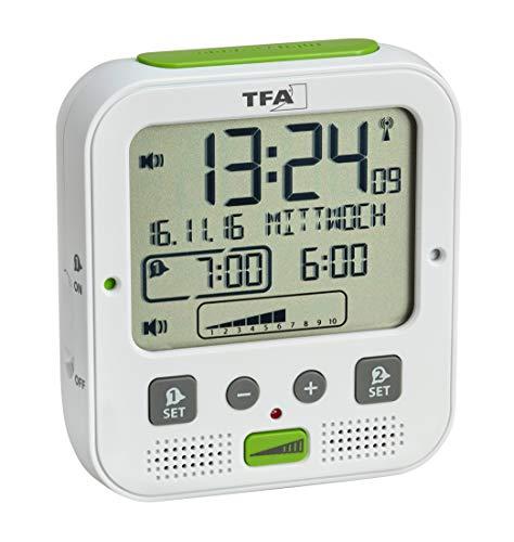 TFA Dostmann Boom de Alto Rendimiento Radio Despertador con vibración, plástico, Blanco, 11x 6x...