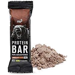 nu3 - Barres Protéinées au Chocolat - 12 x 50g - Barres contenant 40% de Protéines de lait - 20g de Protéines par barre - Saveur Chocolat - Parfait pour la Prise ou le Maintien de Masse Musculaire