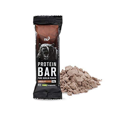 nu3 Protein Bar | 40{cfc7fc8d1dd32cccedbe123672e5da6ec4bae42251c452b57e795cded1a2f2e1} Protein mit Schoko-Geschmack | 12 x 50g High Protein-Riegel | 20g Eiweiß pro Bar | Mit Kreatinmonohydrat von Creapure® | nur 0,8g Zucker je Riegel | aus Milch- und Whey-Protein