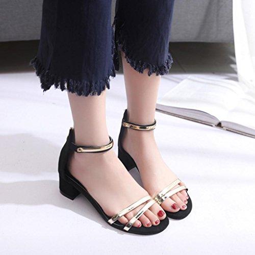 Amlaiworld Summer Women High heels Sandali Open Toe tacco spesso nero