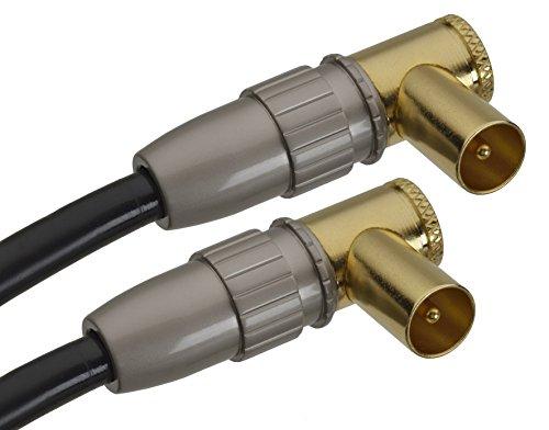 aricona HDTV Antennenkabel mit 90° Winkelstecker – Audio Koaxialkabel mit Adapter für Receiver und Fernseher / 1 Meter