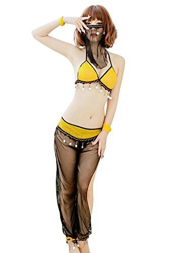 Shangrui Femminile Arab Ragazza Mascherata Belly Dance Dress Polo Danza Abbigliamento Danza Indiana Uniformi del Gioco W196 Giallo