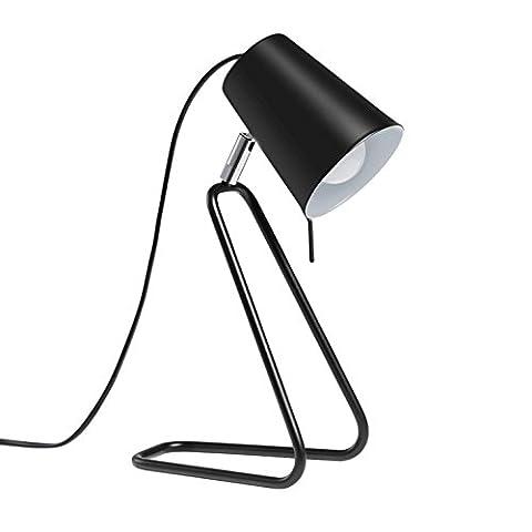 AMZH Modern Black Metal Bedside Lamp Desk Lamps Office Book Desk Table Lamp Bedroom Bedheads Iron Table
