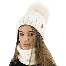 TOSKATOK® Gorro y Bufanda para Mujer de Invierno con Gorro y Forro Polar  cálido con c3aefb3138d