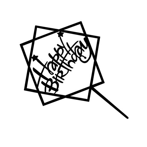 fish Quadrat Rund Alles Gute zum Geburtstag Brief-Kuchen-Deckel Acryl DIY Kuchen-Kuchen-Smash-Kerze-Partei-Handmade-Stick