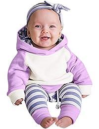 Ropa bebé, Amlaiworld 3pcs Conjunto de Ropa para bebé niñas Sudadera con Capucha Tops+ Pantalones + Diadema Conjunto de Trajes 0 Mes - 2 Años (Púrpura, Tamaño:3 Mes)