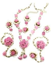1130cdc17d2051 Shivi Jewels Pink Non Precious Metal Gotta Patti Flower Pearl Earrings Mang  Tika Bracelet for Women