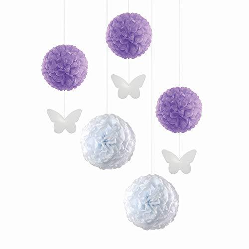 EinsSein 5er Mix Pom Poms mit Anhänger 3X Schmetterling Aanhänger Flieder 2X Large (Weiss) Pompons Hochzeit Wedding Pompons Dekokugel