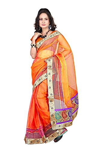 Florence Orange Tissue Embroidered Saree (FL-10054_Orange)