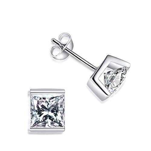 Sterlingsilber-Ohrstecker, quadratisch, Unisex, mit Prinz- und Prinzessinnen-Schliff, künstlicher Diamant, CZ - Diamant-ohrstecker Ohrringe