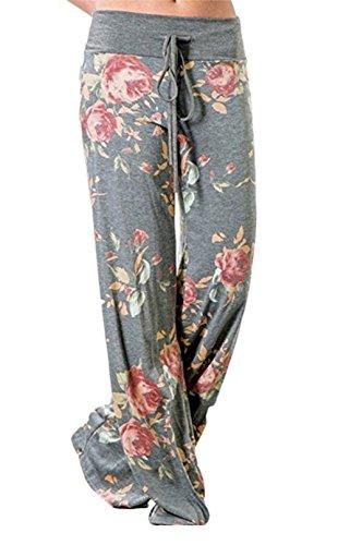 Corala Damen Blumenmuster Kordelzug Weite Bein Breite High Waisted Hose Lose Lange Hosen, XXL, grau (Hosen Lose Damen)