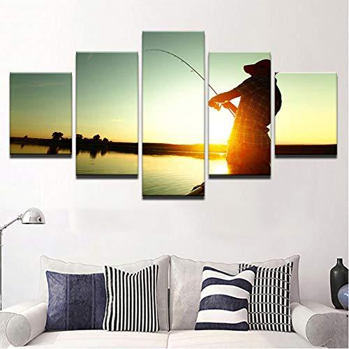 BUER Wohnzimmer leinwand Poster wandkunst 5 stücke Fischer Angeln Sonnenuntergang landschaftsmalerei Schlafzimmer Dekoration malerei wandbild (Mikro Angeln Haken)