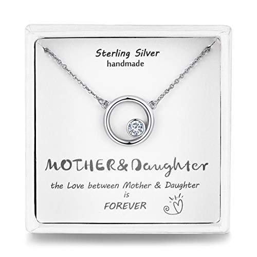 Qings Mama Tochter Kette Silber, Damen Kette mit Anhänger mit 5A Zirkonia,Halskette Silber für Mädchen