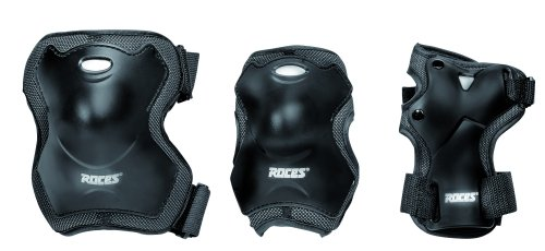 Roces Adult Super 3 Pack - Protecciones para los patinadores unisex, color negro, talla L