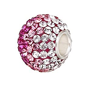 Andante-Stones 925 Sterling Silber Kristall Glitzer Bead Charm ** French Kiss ** Magenta Rosa Weiß Kettenanhänger oder Element für Bettelarmbänder + Organzasäckchen