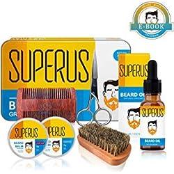 Kit de Soin de Barbe pour Homme avec Boite Cadeau en Métal - Contient huile à barbe, baume barbe, brosse barbe, peigne barbe, ciseaux à moustache - Superbe idée de cadeau pour petit ami