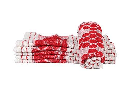 Casa Copenhagen Basics 350 GSM Set Of 6 Pcs Kitchen Hand Towels – Red